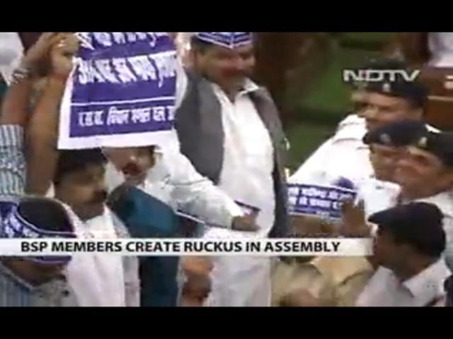 Uttar-Pradesh-MLAs-create-ruckus-on-first-day-of-Assembly-TV-grab