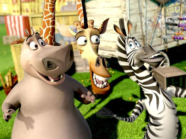 This-film-image-released-by-DreamWorks-Animation-shows-Gloria-the-Hippo-voiced-by-Jada-Pinkett-Smith-left-Melman-the-Giraffe-voiced-by-David-Schwimmer-center-and-Marty-the-Zebra-voiced-by-Chris-Rock-in-a-scene-from-Madagascar-3-Europe-s-Most-Wanted-AP-Paramount-Pictures