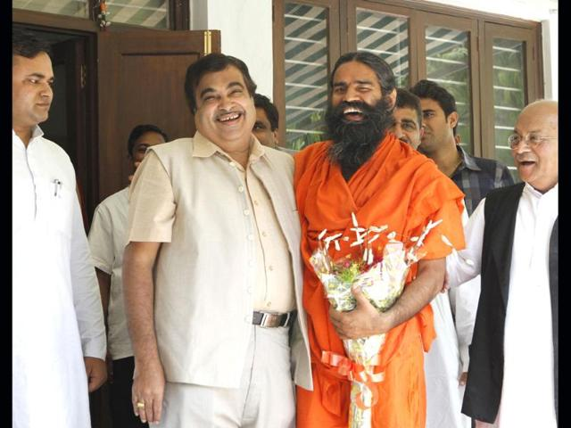 Baba-Ramdev-meets-BJP-president-Nitin-Gadkari-at-the-latter-s-residence-in-New-Delhi-HT-Arvind-Yadav