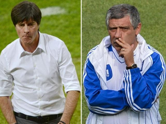 A-combination-picture-of-German-headcoach-Joachim-Loew-and-Greek-headcoach-Fernando-Santos-AFP-Photo