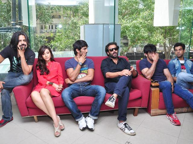 Filmmaker-Abhishek-Kapoor-visited-the-HT-House-on-Wednesday-along-with-the-cast-of-his-upcoming-film-Kai-Po-Che-including-actors-Sushant-Singh-Rajput-Amit-Sadh-Raj-Kumar-and-Amrita-Puri-along-with-Manish-Hari-Prasad-creative-director-of-Studios-Disney-UTV
