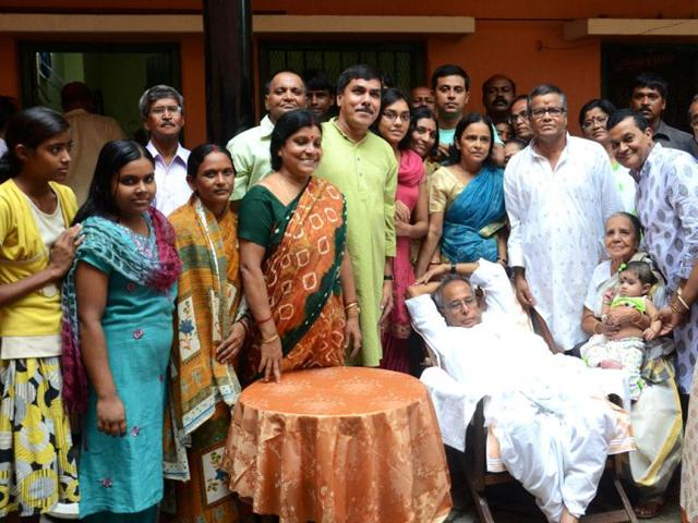 The-Union-finance-minister-and-the-ruling-UPA-candidate-for-the-Presidential-election-Pranab-Mukherjee-relaxes-with-elder-sister-Annapurna-Banerjee-inside--her-house-in-Parota-village-around-200-KM-north-west-of-Kolkata-AFP-photo-Str