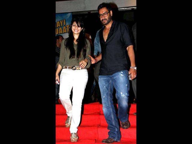 Ajay-Devgan--with-sister-in-law-Tanisha-Mukherji-at-the-special-screening-of-Bol-Bachchan-AFP