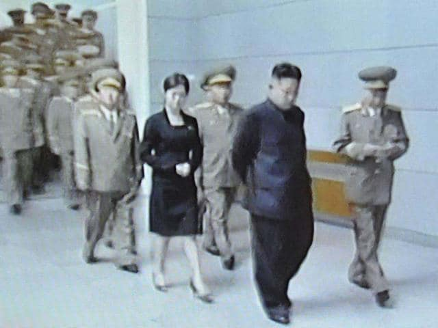 This-screen-grab-taken-on-July-9-2012-shows-an-unidentified-woman-accompanying-North-Korean-leader-Kim-Jong-Un-C-at-Kumsusan-Palace-in-Pyongyang-AFP-North-Korean-TV