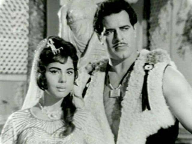 Dara Singh and actress Mumtaz in a still from the film Rustom-E-Hind (1965).