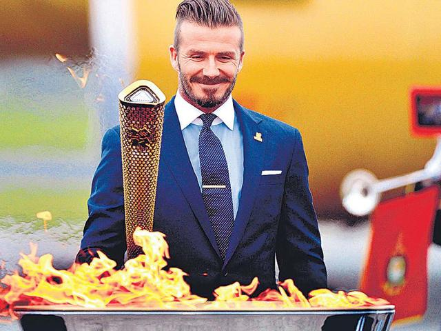 David Beckham,Britain's Olympic,Olympic flame