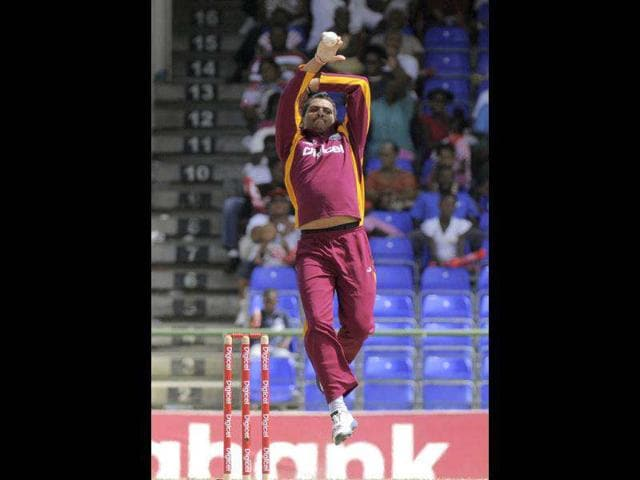 West-Indies-spinner-Sunil-Narine-bowls-during-the-fifth-One-Day-International-cricket-match-against-New-Zealand-in-Basseterre-St-Kitts-West-Indies-won-by-20-runs-to-clinch-the-series-4-1-AP-Photo