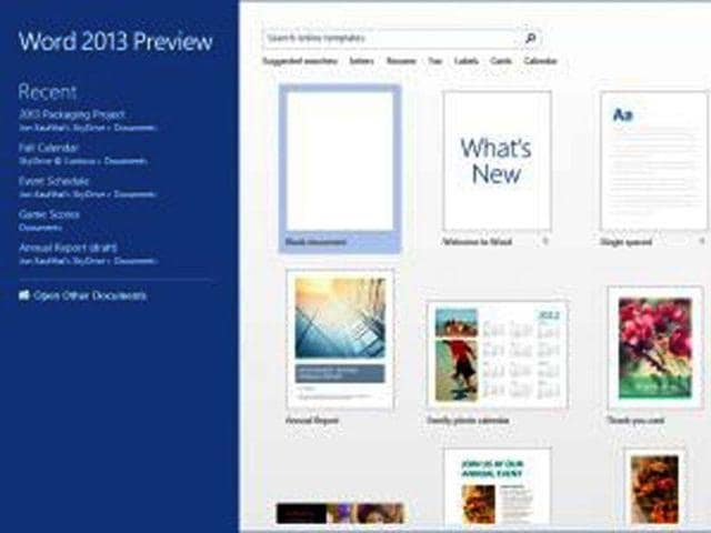 Microsoft-Office-2013-Word-Start-Screen-PHOTO-AFP