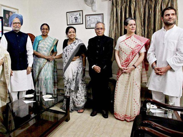 Pranab Mukherjee being congratulated by Prime Minister Manmohan Singh, Lok Sabha Speaker Meira Kumar, UPA Chairperson Sonia Gandhi and Congress General-Secretary Rahul Gandhi at his residence in New Delhi. PTI photo/Atul Yadav
