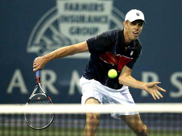 Sam-Querrey-hits-a-return-at-the-net-against-Igor-Sijsling-of-the-Netherlands-during-day-three-of-the-Farmers-Classic-Presented-By-Mercedes-Benz-at-LA-Tennis-Center-at-the-University-of-California-Los-Angeles-AFP-Photo