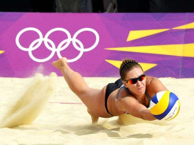 Russia-s-Anna-Vozakova-stretches-for-the-ball-during-during-her-women-s-Beach-Volleyball-preliminary-phase-Pool-B-match-against-Xue-Chen-and-Zhang-Xi-of-China-on-The-Centre-Court-at-Horse-Guards-Parade-London-AFP-Daniel-Garcia