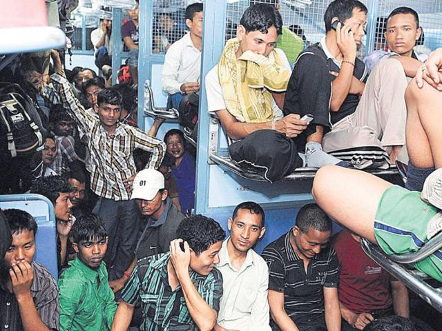 A-packed-compartment-of-an-Assam-bound-train-at-Bangalore-railway-station-on-Thursday-PTI-photo
