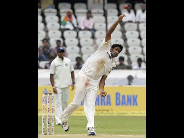 Ravichandran-Ashwin-bowls-during-the-fourth-day-of-the-first-Test-cricket-match-between-India-and-New-Zealand-at-the-Rajiv-Gandhi-International-cricket-stadium-in-Hyderabad-AFP-Noah-Seelam