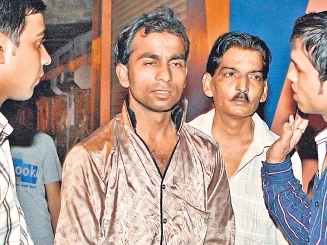 Victim-Sheela-Garg-s-son-Ajay-left-said-he-rushed-towards-his-house-when-he-heard-gunshots-HT-Sushil-Kumar