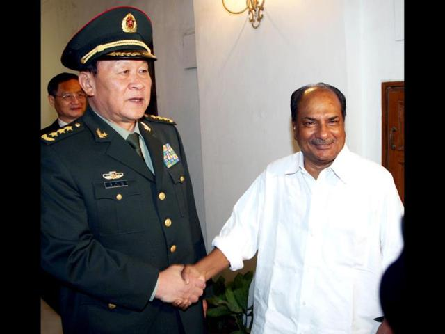 Defence-minister-AK-Antony-R-shakes-hands-with-China-s--defence-minister-Liang-Guanglie-ahead-of-a-meeting-at-The-Ministry-of-Defence-in-New-Delhi-AFP