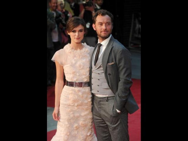 Actors-Keira-Knightley-and-Jude-Law-pose-for-photographers-as-they-arrive-for-the-world-premiere-of-Anna-Karenina-at-the-Odeon-Leicester-Square-in-central-London-on-September-4-Reuters-Photo