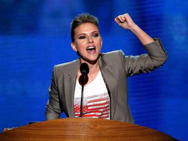 Actress-Scarlett-Johansson-speaks-on-stage-during-the-final-day-of-the-Democratic-National-Convention-at-Time-Warner-Cable-Arena-in-Charlotte-North-Carolina-Alex-Wong-AFP