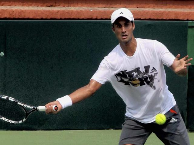 Yuki-Bhambri-is-seen-at-a-practice-session-for-the-Davis-Cup-tie-against-New-Zealand-in-Chandigarh-PTI