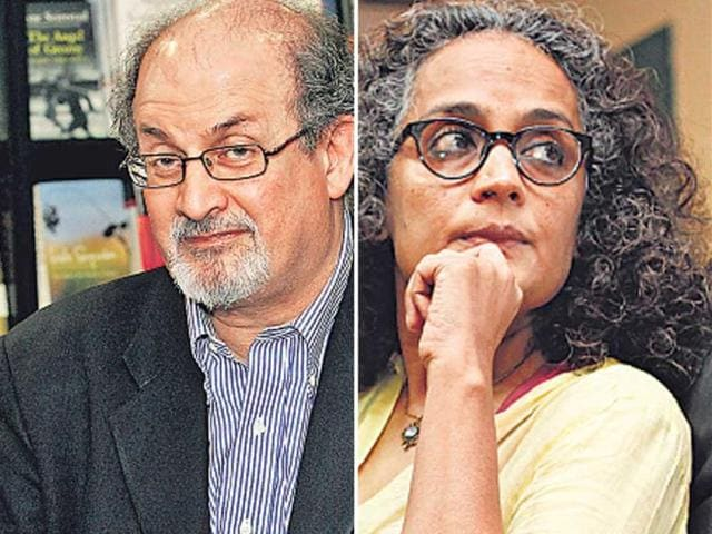 A-combo-picture-of-Salman-Rushdie-and-Arundhati-Roy-HT-Photo