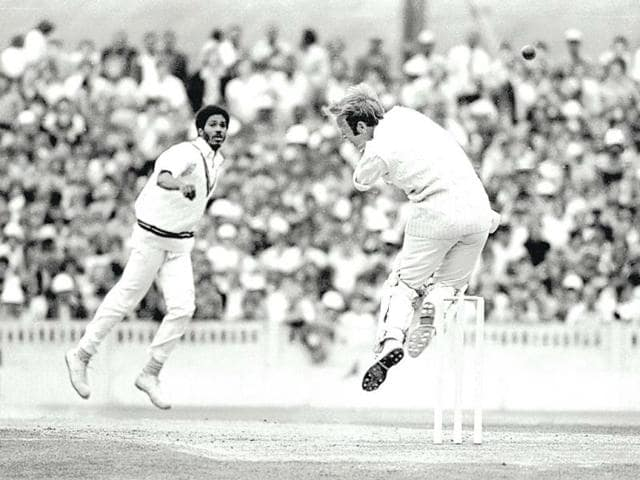 England-s-Derek-Underwood-dodges-a-bouncer-from-the-Whispering-Death-Michael-Holding-in-Old-Trafford-1976-Patrick-Eagar