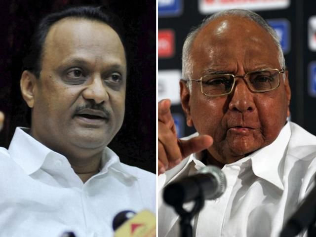 NCP-leader-Ajit-Pawar-with-party-leaders-after-a-meeting-in-Mumbai-on-Friday-PTI-Santosh-Hirlekar