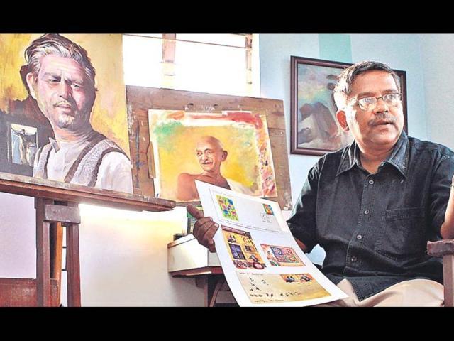 Sankha-Samanta-at-his-home-cum-studio-in-Vikaspuri-HT-Vipin-Kumar