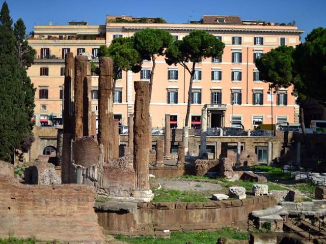 This-picture-shows-a-general-view-on-October-11-2012-downtown-Rome-of-the-Largo-di-Torre-Argentina-the-exact-spot-among-ancient-ruins-where-Roman-general-Julius-Caesar-was-assassinated-on-March-15-44-BC-Photo-AFP-Gabriel-Bouys