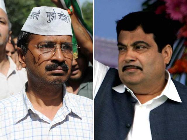 A-combo-picture-of-IAC-activist-Arvind-Kejriwal-L-and-BJP-president-Nitin-Gadkari-HT-Photos