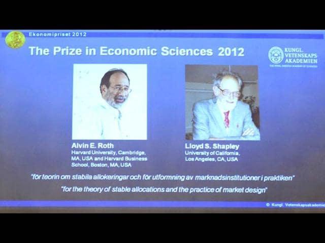 Alvin Roth,Lloyd Shapley,Nobel economics prize