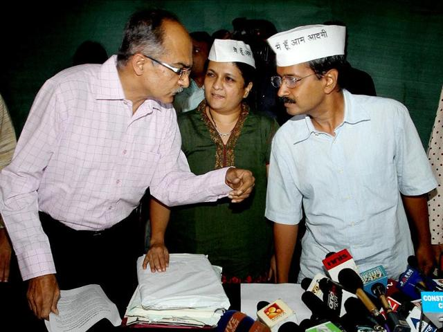 India-Against-Corruption-activists-Arvind-Kejriwal-Prashant-Bhushan-and-Anjali-Damania-at-a-press-conference-in-New-Delhi-PTI-Photo