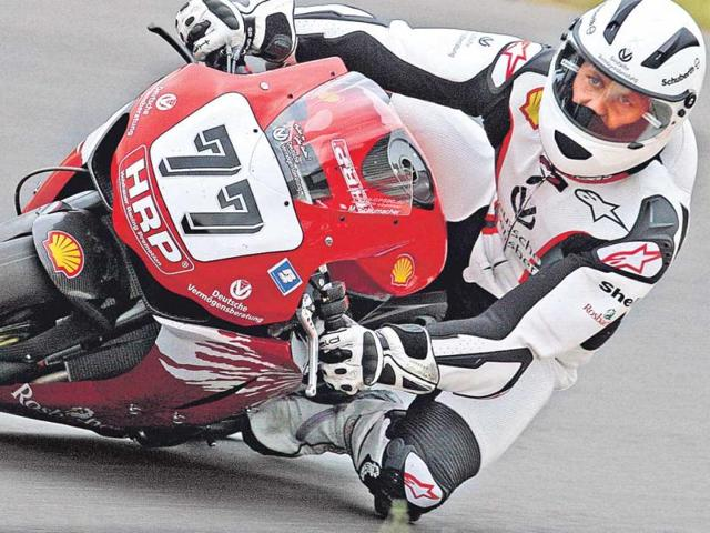 Michael-Schumacher-tests-a-Honda-Fireblade-during-the-German-Superbike-race-at-Sachsenring-in-2008-During-the-test-session-Schumacher-crashed-and-injured-his-collar-bone-Getty-Images