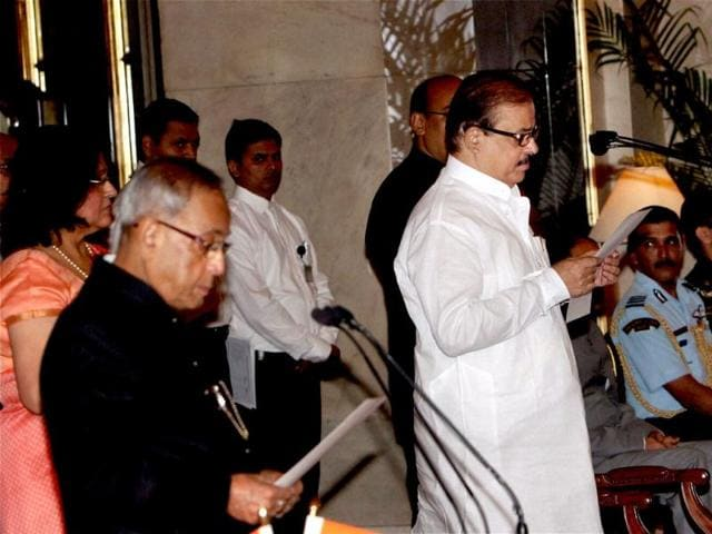 NCP-s-Tariq-Anwar-being-sworn-in-as-a-minister-of-state-by-President-Pranab-Mukherjee-during-a-ceremony-at-Rashtrapati-Bhavan-in-New-Delhi-PTI-Photo