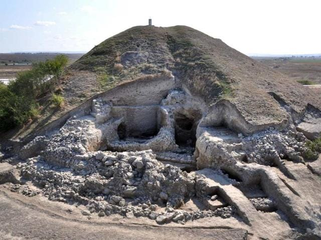 Photo-provided-by-the-Bulgarian-National-Institute-of-Archeology-photo-and-taken-on-September-26-2012-shows-the-remains-of-a-small-settlement-made-of-two-story-houses-near-the-town-of-Provadia-in-eastern-Bulgaria-Photo-AFP-Bulgarian-National-Institute-of-Archeology