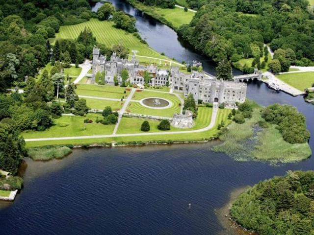 A-luxury-Irish-hotel-made-famous-in-the-classic-John-Wayne-movie-The-Quiet-Man-went-on-sale-on-October-31-for-half-the-price-paid-for-it-five-years-ago-Ashford-Castle-a-five-star-hotel-on-365-acres-148-hectares-of-land-on-the-west-coast-is-on-the-market-for-25-million-euros-32-46-million-USD-25-million-euros-less-than-property-developer-Gerry-Barrett-paid-for-it-in-2007-Photo-AFP-Savills-Gerry-O-Leary