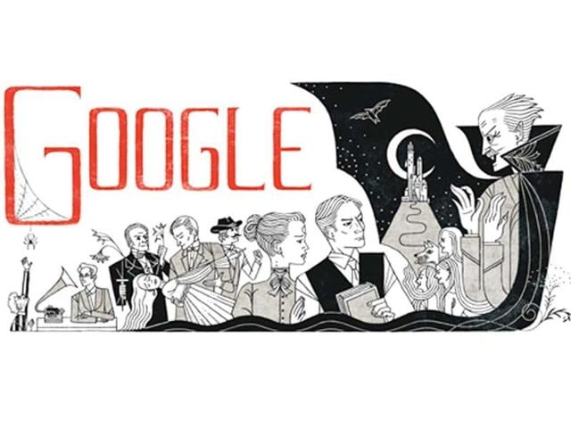 A-Google-doodle-celebrating-Bram-Stoker-s-165th-anniversary-featuring-his-famous-work-Dracula