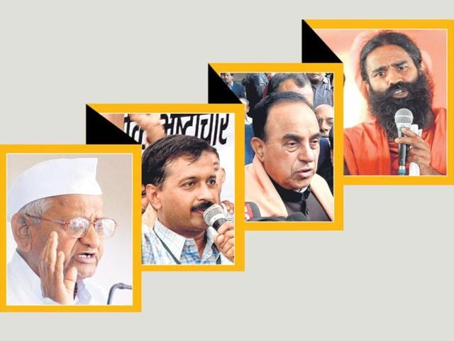 From-left-Social-activist-Anna-Hazare-activist-turned-politician-Arvind-Kejriwal-Janata-Party-president-Subramanian-Swamy-and-yoga-guru-Baba-Ramdev