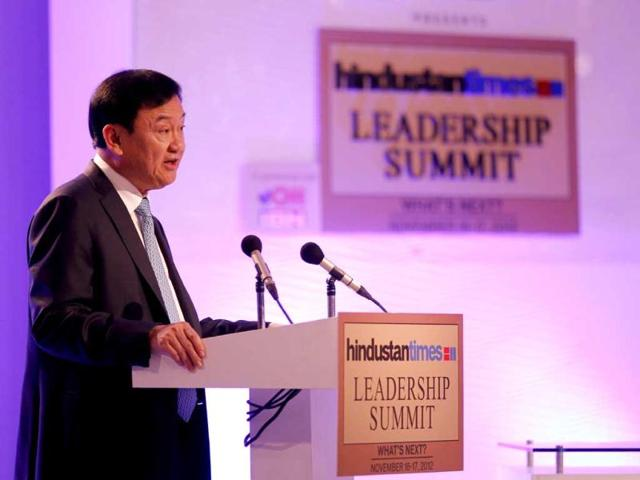 Thaksin Shinawatra, former prime minister of Thailand addresses the audience at the Hindustan Times Leadership Summit in New Delhi. HT Photo/Ajay Aggarwal