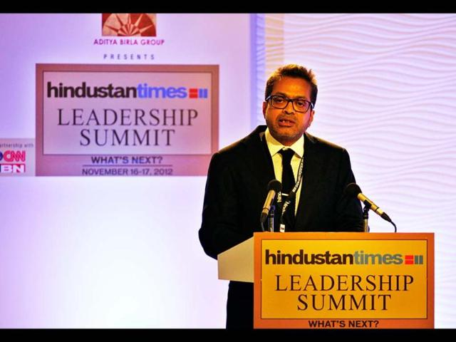 Hindustan Times Editor-in Chief Sanjoy Narayan delivers the welcome address during the first day of the Hindustan Times Leadership Summit in New Delhi. HT Photo/Gurinder Osan