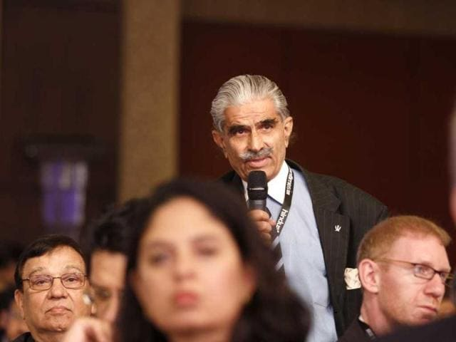 A member of the audience poses a question to a speaker at the Hindustan Times Leadership Summit in New Delhi. HT/Virendra Singh Gosain