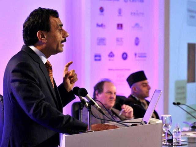 Dr. Ashutosh K. Tewari, Director, Prostrate Cancer Institute and The Lefrak Robotic Surgery Center, Weill Cornell Medical College speaks during the first day of the Hindustan Times Leadership Summit in New Delhi. HT photo/Gurinder Osan