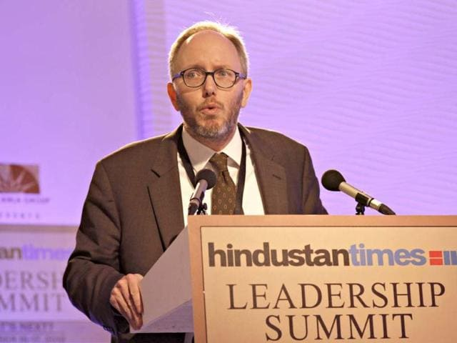 In conversation with Dr Eric, prof and director of European studies, John Hopkins Saia, during the first day of the Hindustan Times Leadership Summit in New Delhi. HT/Jasjeet Plaha