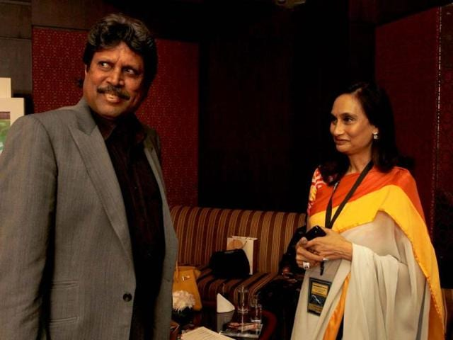Former cricketer Kapil Dev with Shobhana Bhartia, chairperson and editorial director of the Hindustan Times Group, after the sixth session of Hindustan Times Leadership Summit at Taj Palace in New Delhi. HT/Arijit Sen