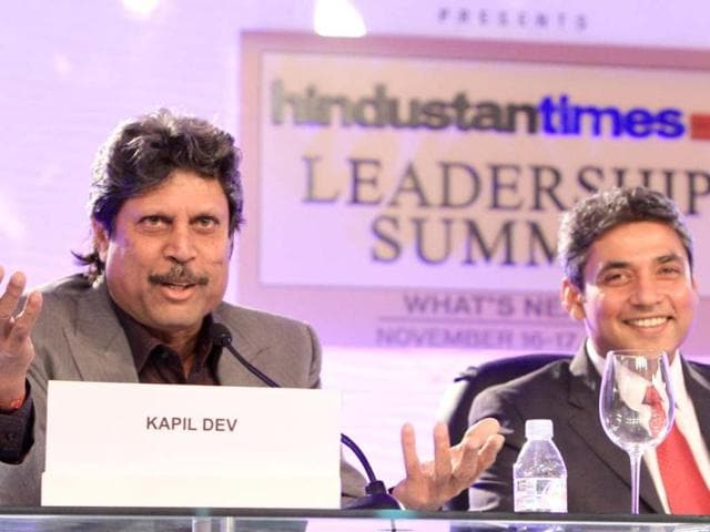 Kapil Dev former cricket captain (L) and Ajay Jadeja former cricketer during the first day of the Hindustan Times Leadership Summit in New Delhi. HT/Sanjeev Sharma