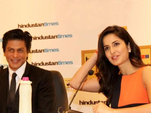 Bollywood actor Shah Rukh Khan and actress Katrina Kaif addressing a press conference during the first day of the Hindustan Times Leadership Summit in New Delhi. HT/Sanjeev Sharma