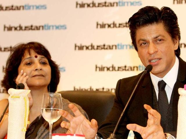 Bollywood actor Shah Rukh Khan addressing a press conference during the first day of the Hindustan Times Leadership Summit in New Delhi. HT/Sanjeev Sharma