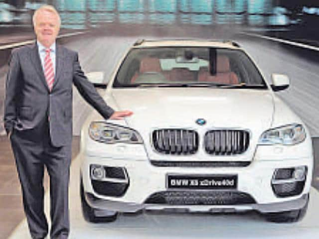 Philipp von Sahr, president, BMW Group India, with the new BMW X6, in Faridabad on Thursday.