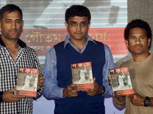 Sachin-Tendulkar-Sourav-Ganguly-and-MS-Dhoni-release-a-book-on-former-cricketer-Pankoj-Roy-at-a-function-in-Kolkata-on-Monday-Photo-PTI