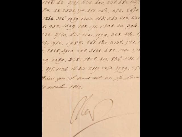A-photo-taken-on-October-31-2012-in-Paris-shows-a-coded-letter-signed-by-French-Emperor-Napoleon-I-Photo-AFP-Kenzo-Tribouillard