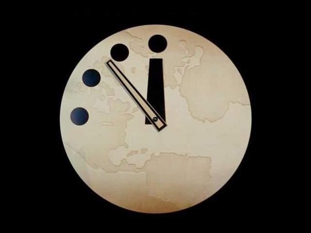The-Bulletin-of-Atomic-Scientist-s-Doomsday-Clock-reads-seven-minutes-to-midnight-after-being-adjusted-two-minutes-closer-on-27-February-2002-in-Chicago-IL-AFP