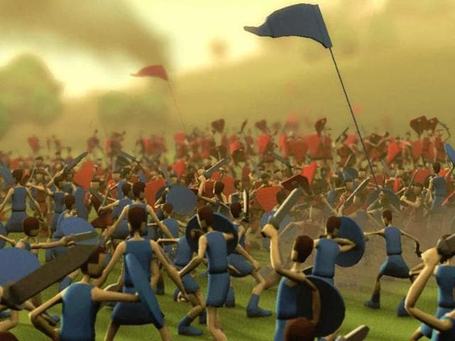 Close-up-concept-art-for-Godus-shows-two-tribes-in-conflict-Photo-AFP
